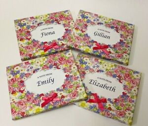 HEARTS & ROSES Personalised Note Cards & Envelopes~ NAME CHOICE ~ Unique Gift