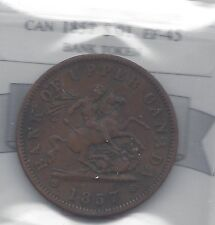 **1857**One Penny Bank Token, Coin Mart Graded**EF-45**