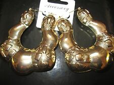 LARGE BAMBOO EARRINGS HIP HOP GOLD TRIANGLE HOOPS DOOR KNOCKER CHUNKY CREOLE