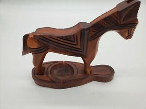 VINTAGE INDIAN WOODEN TOYS WHEELED HORSE FORMAT. TIKKA BOX IN DOUBLE-HEADED