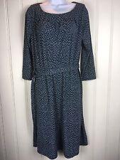 Lands End Dress Med 10 12 Blue Black Geometric Belt Elastic Pleated Stretch