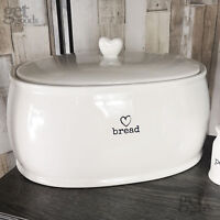 Charm Bread Crock White Loaf Bin Kitchen Storage Canister Heart Sealed Lid New