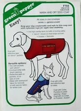 Green Pepper F703 Easy Warm & Dry Dog Coats Raincoat Sewing Pattern