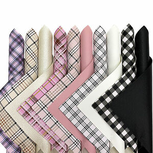 10PCS Plaid Printed Faux Leather Fabric Sheets For Earrings & Bows Crafts Bundle