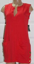 NEW Lauren Ralph Lauren Button Tunic Swim Cover-Up Red Orange L Large