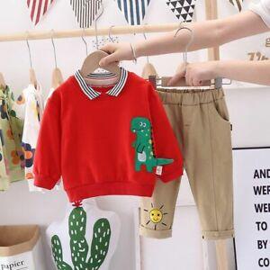 Cartoon Dinosaur Striped Lapel Children Casual Suit Long Sleeve Sweatshirt Pants