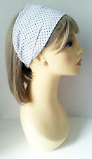 Gorgeous white polka dot elasticated lightwight polyester headwrap - headbands