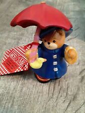 Lucy & Me Blue Raincoat Bear With Red Umbrella & Ducky Enesco Lucy Rigg 1994