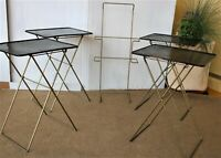 Vintage TV Tray Set with Rack, Durham, 1950s, Folding, Black, Metal, Shabby