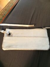 Old Navy Silver Distressed Leather zipper Pouch Wristlet