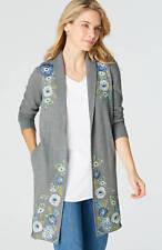 J. Jill - 3X/ 4X(Plus) Great Dark Grey Heather Multi Embroidered Knit Jacket -