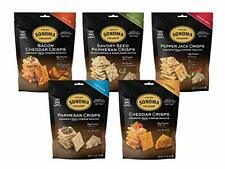 Sonoma Creamery Cheese Crisps Variety Pack Savory Seed Pepper Jack Real Chees.
