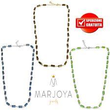 Collana stile rosario,swarovski neri,verdi,blu,arcobaleno e argento 925 e dorato