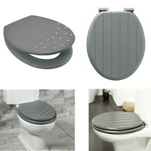 Grey Toilet Seat Wooden MDF Strong Chrome Hinges Loo Seats Fittings Included
