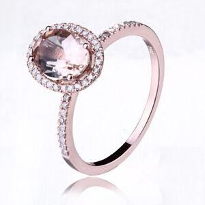 14K Rose Gold Morganite Diamonds Engagement Elegant Women's Wedding Unique Ring