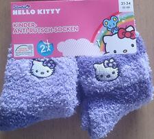 2x Hello Kitty * Winter * Kinder-Anti-Rutsch-Socken*31-34*Flieder mit Motiv*Neu