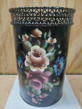 Vintage Black Tole Hand Painted Trash Can Or Waste Basket Metal - Floral/Flowers