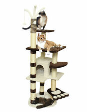 64� Brown White Pet Cat Tree Play House Tower Condo Bed Scratch Post Toy Balls
