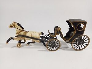 Vintage Cast Iron Horse And Buggy Carriage
