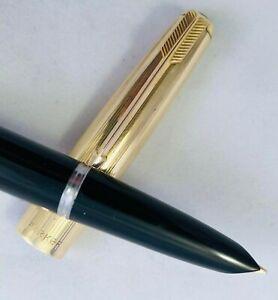 Parker, Model 51, Fountain Pen, 14k Gold (L.O.B.) Left Oblique B Nib, Aerometric