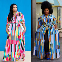 Plus size Women turn down collar colorful stripes casual long dress with belt