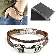 Fashion Men Ladies Unisex Real Genuine braided Leather Bracelet Wristband Brown