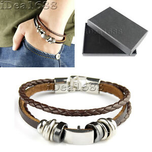 Mens Women Ladies Surfer Leather Cord Bracelet Wristband with Gift Box #04 Brown