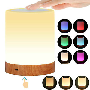 LED Rechargeable Warm White Night Light RGB Nightlight Bedside Table Touch Lamp-