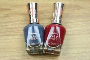 Lot of 2 Sally Hansen Color Therapy Nail Polish 375 Berry Bliss 460 Oceans Away
