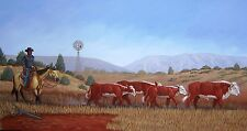 Navajo canvas painting CATTLE DRIVE 20x24 by world renowned Jimmy Yellowhair