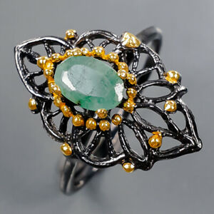 Jewelry Handmade Emerald Ring Silver 925 Sterling  Size 8.75 /R178071