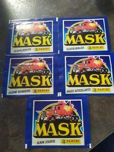 LOT 5  Pochettes anciennes album PANINI MASK IMAGES AUTOCOLLANTS / stickers