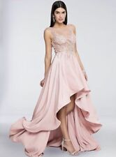 TERANI COUTURE 1712P2465 Blush Pink Illusion Beaded High Low Crepe Dress Gown 4
