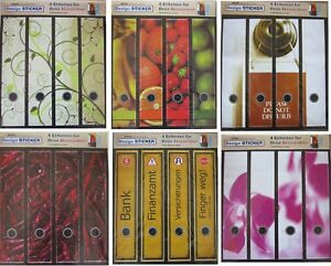 4 Ordnerrücken Etiketten Ordner Motiv Deko Aufkleber Orchidee Obst Chili etc.