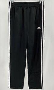 "Boy's Adidas Fleece Tricot Pants Size XL 18-20 Black White 30"" Inseam Track Used"