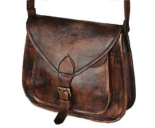 New Women Vintage Brown Leather Messenger Cross Body Bag Handmade Purse