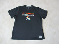 NIKE Miami Marlins Shirt Adult 2XL XXL Black Orange Dri Fit MLB Baseball Mens C1