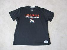 NIKE Miami Marlins Shirt Adult 2XL XXL Black Orange Dri Fit MLB Baseball Mens C1