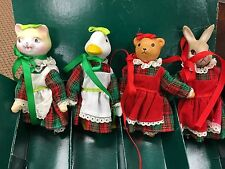 Vintage 1960s Set 4 Porcelain Animal Dolls in Holiday Clothing Taiwan in Box