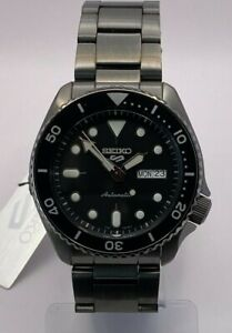 Seiko 5 Sports Men's Auto Black dial Gun-metal S/Steel bracelet Watch SRPD65K1