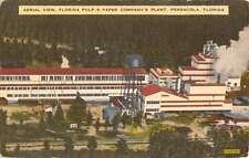Pensacola Florida Pulp And Paper Co Aerial view Antique Postcard K22398
