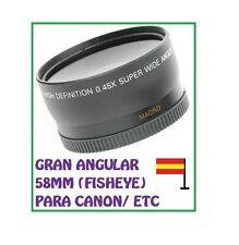OBJETIVO GRAN ANGULAR 0.45 MACRO 58mm NIKON CANON 550D 450D 350D 600D OJO DE PEZ