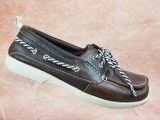 Crocs Boat Shoe Size 8 Womens Brown Leather Lace Up