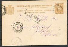 N.I.,KLEINR.OENARANG 4/7 1891 OP BRIEFK.7½ CT.-ZUTPHEN,ROUTE VIA MARSEILLE Zi689