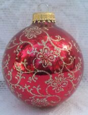 Vtg Krebs Germany Candy Apple Red Gold Glitter Floral Swirls Christmas Ornament