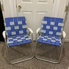Vintage Aluminum Beach Blue & White Webbed Lawn Patio Pool Chair Lot Of 2