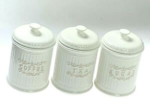 Canister Set Of 3 Coffee Tea & Sugar Lovely Simple Design & Country Style