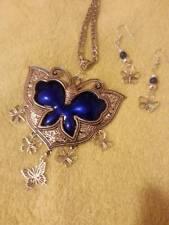 sterling silver chain tibetan silver butterfly pendant blue beads earring set
