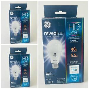 3 Pack GE Reveal LED A19 5.5W 40W Equivalent 350 Lumens Dimmable  2850K WARM HD+