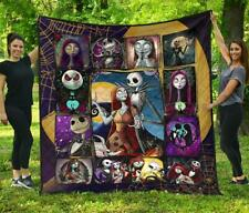 Jack & Sally Quilt Blanket The Nightmare Quilt, Fleece Blanket Print In USA New